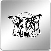 Azeeda 6 x Perro Soñoliento 95mm Cuadrado Acrílico Espejo Posavasos (CR00138925)