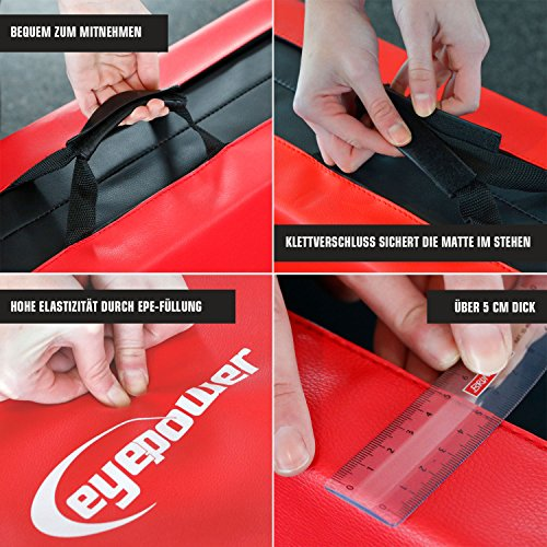 eyepower-RG20-Tumbling-Mat-200x100x5cm-thick-foldable-portable-Red-Black