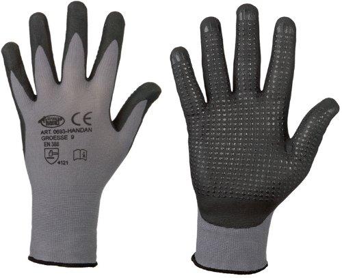 Preisvergleich Produktbild stronghand® Handan Nylon-Strick-Handschuhe (12er Pack) - EN388 CE Cat 2 - benoppt - grau - Gr. 9