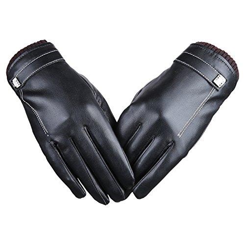 Bequemer Laden Damen-Touchscreen-Texting Fahren Winter Warm Leder Handschuhe, Fleece Futter Leder Fleece