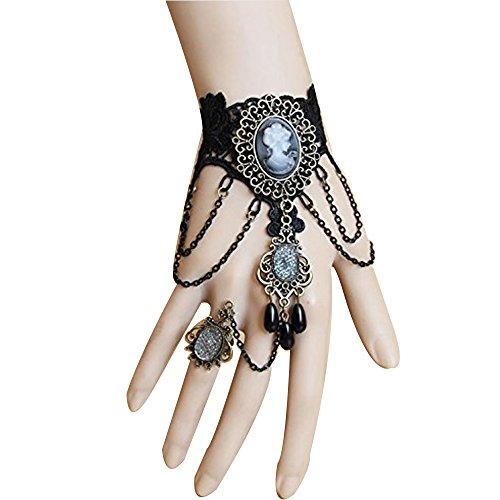 Naisicatar Bracelet Avec Bague Chaine Bracelet En Dentelle Rétro Style Handmade Retro Black Lace Vampire Slave Bracelet Avec La Production De Fleur Et Resin Gothic Style
