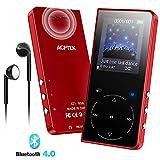 AGPTEK Lettore MP3 Bluetooth 8GB con Altoparlante Integrato, Portatile Lossless Sound Lettore Musica Pulsante Tocco con Radio FM, Registratore Vocale, Supporto Espandibile Fino a 128GB, Rosso