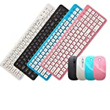 Noradtjcca Ultra-Slim Black Mini Wireless Keyboard and Mouse Combo Kit for PC Desktop Loptop Classic Office Set