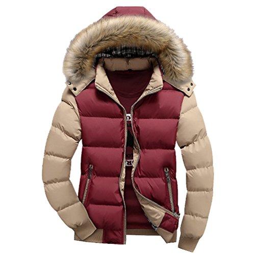 Yuandian uomo invernali imbottito cappotto con cappuccio collare in eco-pelliccia addensare caldo impermeabile a prova di vento piumino giacca parka giubbini (senza t-shirt) rosso+cachi m