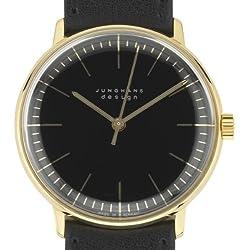 Armbanduhr Max Bill, vergoldet, Strichblatt schwarz, Armband schwarz [A]
