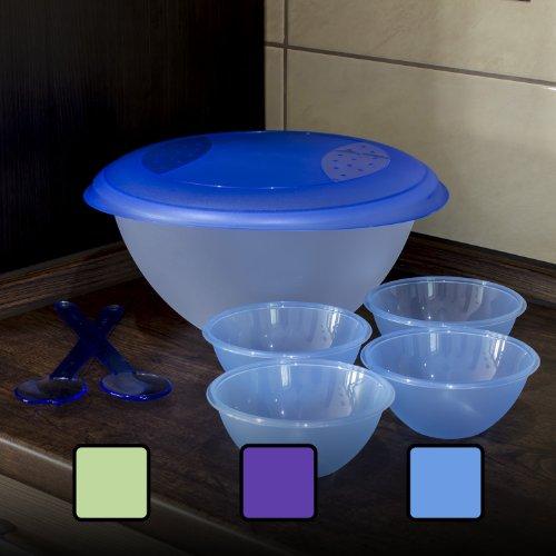OKT Set 5 pièces à Salade polypropylène Bleu