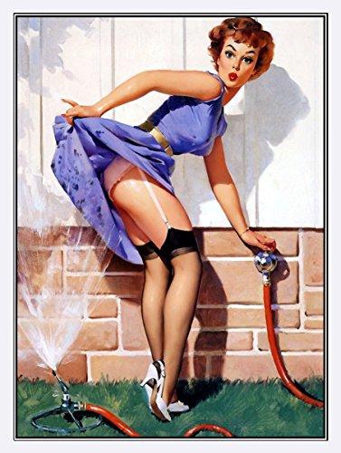 Jardin Arroseur sexy Pin Up Girl r?tro en m?tal ?tain plaque murale Cadeau murale