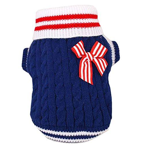 SAMGU Pet Navy Style per Cane Maglione maglia Crochet Cane Animale Domestico color blu size Large