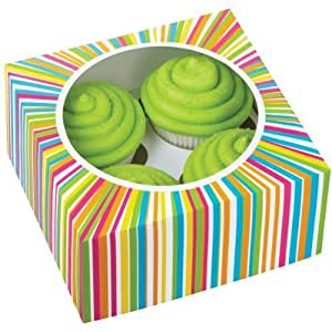 Wilton 415-0814 3-Pack 4 Cavity Color Wheel Cupcake Box by Wilton