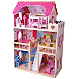 Tiktaktoo XL Dollhouse Wood 90 cm with Furniture Complete without Dolls, Dollhouse Dolls up to 29 CM