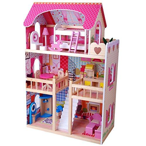 TikTakToo XL Puppenhaus aus Holz, 90 cm hoch, mit Möbeln komplett, ohne Puppen, Puppenhaus für Puppen bis maximal 29 cm