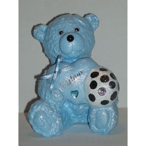 Nephew-Pallone da calcio per bambini, motivo: orsetto Teddy, colore: blu a forma di cuore, decorazione commemorativa da Ziggy Crafts