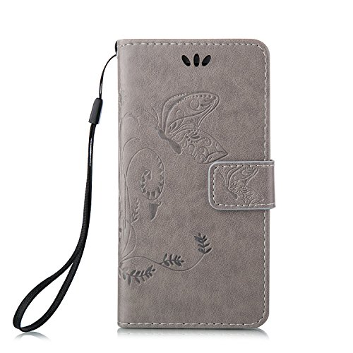 iPhone 5S Hülle,iPhone SE Tasche Case,iPhone 5 Cover - Felfy Bookstyle Ledertasche Luxus Premium Flip Folio PU Leder Taschen Schöne Panda Kreative übersichtliches Design Geprägte Fantasie Fliegen Fall Grau Hülle