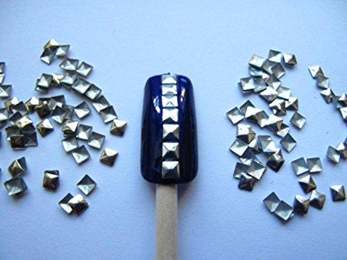 FEITONG Nail Art 300 pezzi d'oro e d'argento 3 mm quadrati Borchie metalliche per le unghie, i cellulari