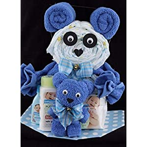 Geschenk zur Geburt und Taufe, Windeltorte plus Handtuch-Bär in blau für Jungen