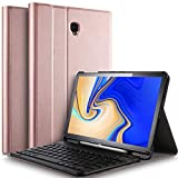 IVSO Tastatur Hülle für Samsung Galaxy Tab S4 T830/T835,[QWERTZ Deutsches], Slim PU Fronthalterung Hülle mit Abnehmbar Tastatur für Samsung Galaxy Tab S4 T830/T835 10.5 Zoll 2018, Rosegold