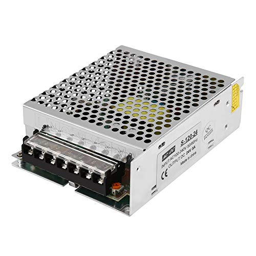 fengwen66 DC 24V 5A 120W AC100-240V Switch LED Power Supply for LED Strip Light Display(Silver)
