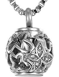 Cylinder Cremation Urn Keepsake Necklace/Keychain with Rhinestone Heart Charm