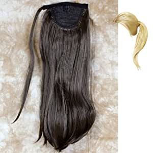 Womens One Piece Clip Dark Coffee Brown Straight Ponytail Full Hair Extension