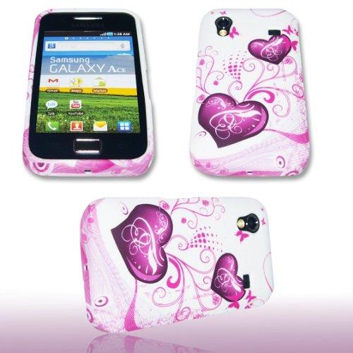 Silikon Case Handy Tasche Lila Herz für Samsung GT-S5830 Galaxy Ace / Hülle