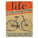 Life is like riding a bike Blechschild in 15x20 cm - Das Leben ist wie Fahrrad fahren Metallschild Werbeschild Retro