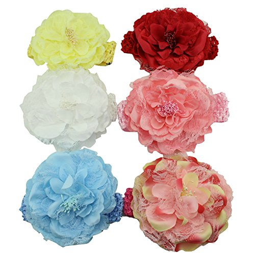 Surker 6 couleurs mignon b¨¦b¨¦s B¨¦b¨¦s filles bandes Douce fleur de pivoine style ¨¦lastique Bandeaux Cheveux Accessoires cheveux