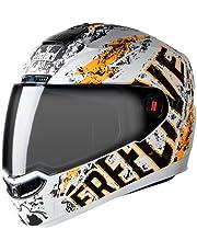 Steelbird SBA-1 Free Live Matt White with Orange with Smoke visor