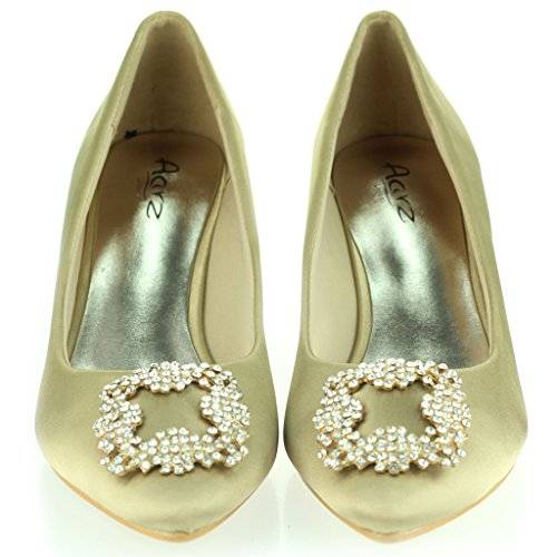 Femmes Dames Broche Détail Orteil d'amande Diamante Pointu Kitten Heel Soir Fête De Mariée Bal de Promo Courts Chaussures Taille Or