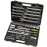 Proteco-Werkzeug® Profi-Steckschlüsselsatz Steckschlüsselkasten 1 4 und 1 2 Zoll 82 Teile Ratschenkasten Knarrenkasten