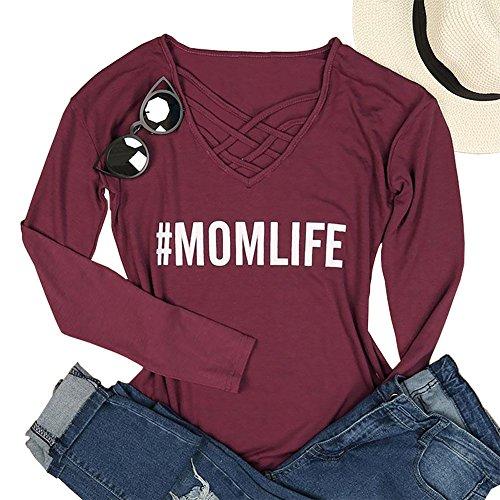 Vin beauty wlgreatsp Femmes Chemises de Doublure Imprimées Col V Tee Shirt de Mode Manche Longue T Shirt Prune