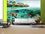 Vlies Fototapete 200×140 cm ! Top – Tapete – Wandbilder XXL – Wandbild – Bild – Fototapeten – Tapeten – Wandtapete – Wand – Natur Landschaft Meer Fish Himmel tropischen Insel Sommer c-A-0027-a-a - 3