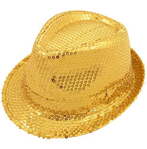 German Trendseller® - 1 x Pailletten - Hut - Gold - Deluxe ┃ Pop Star - Michael Jackson ┃ Gangster ┃ Party ┃ Mafia ┃ Fasching ┃ Karneval ┃ 1 Hut