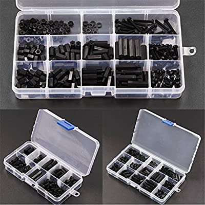 Malayas® 160pcs M3Hex Spacer M-F Screw Nut STAND-OFF Nylon Accessories Set Kit With Black Plastic Box from Malayas