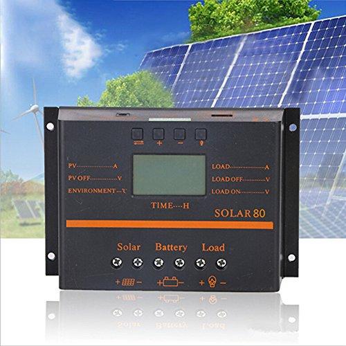 BeesClover 80A PWM 12V 24V LCD Solar Controller Photovoltaik-Solarpanel Ladeentladungsregler Solar Panel Controller