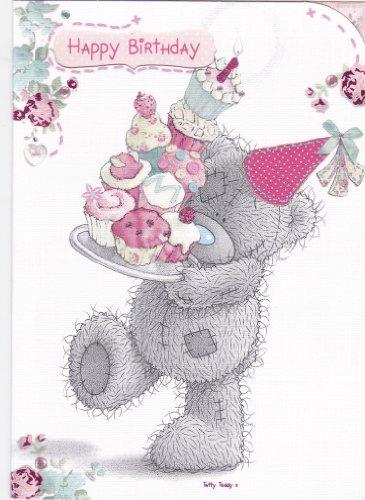 Ourson tenant un plateau de gâteau pour anniversaire Ours Me to You Carte
