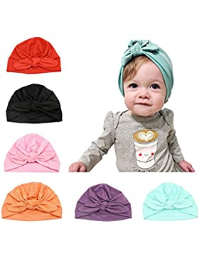 CANSHOW 6 Stücke Baby Mütze Neugeborene 100% Super Weich Baumwolle Elastische Stretch Turban Kleinkind Stirnbänder...