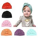 CANSHOW 6 Stücke Baby Mütze Neugeborene 100% Super Weich Baumwolle Elastische Stretch Turban Kleinkind Stirnbänder Baby Mädchen Knoten Stirnband