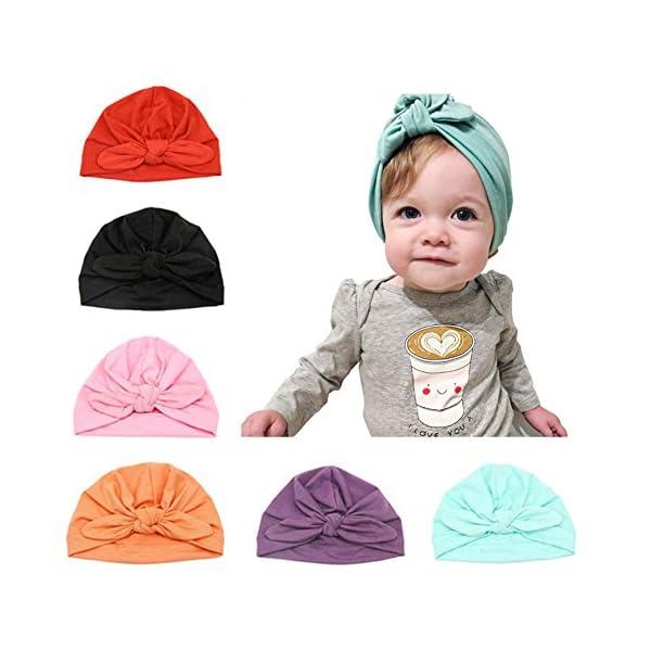 Baby Hat 6 Unids Recién Nacido, 100% Algodón Súper Suave, Elastico Stretch Head Wrap Infantil Turbante Niño Bebé Nudo…