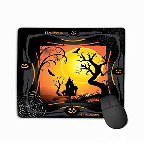 Mouse Pad Halloween Halloween Night Pumpkin bat Spider Web Forest Haunted House Full Moon Poster Graphic Rectangle Rubber Mousepad 11.81 X 9.84 Inch (Haunted Forest Halloween)