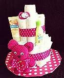 Windeltorte plus Handtuch-Tier, geschenkverpackt in pink / rosa als originelles Geschenk zur Geburt, Taufe und Geburtstag