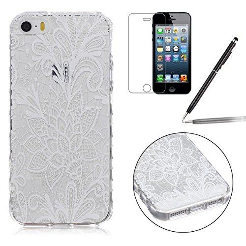 iPhone SE Hülle,iPhone 5 TPU Case, iPhone 5S Silikon Cover - Felfy Ultra Slim Klare Transparent Gel Klar Crystal Durchsichtig Flexible Elastisch Biegsam aussehend Eule Muster Schutzhülle für Apple iPh Weiß Rose