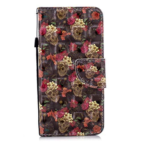 "Gelusuk iPhone 7 Plus 5.5"" Leder Hülle,iPhone 8 Plus Handyhülle,Ultra Dünn PU Leder Flip Folio Etui Schale Book Hülle Magnet Kartenfächer Standfunktion Schutzhülle-Blumen Schädel"
