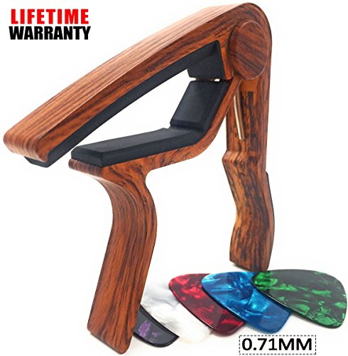 WINGO Wooden Guitar Capo Quick Change for 6-String Acoustic Electric Steel Guitars,Ukulele with 5 Picks-Rosewood Color