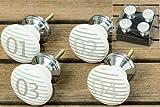Set di 4 pomelli in porcellana per credenza e cassetti con numeri 1, 2, 3, 4, colore: Bianco, grigio