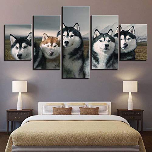 Fbhfbh Leinwand Moderne Bilder HD Gedruckt Wandkunst Rahmen 5 Panel Tier Hund Für Wohnzimmer Dekoration Poster Malerei-4x6/8/10inch,Without frame