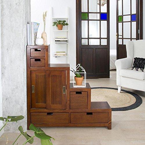 Afnes Meuble Escalier Réversible - Bois - 100x25x100 cm - Couleur Teck