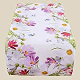 Fashion&Joy Tischläufer bunt bedruckt mit Blumenwiese 40x90 cm weiß mit Digitaldruck Blumen - Sommer Chic Tischwäsche Typ407