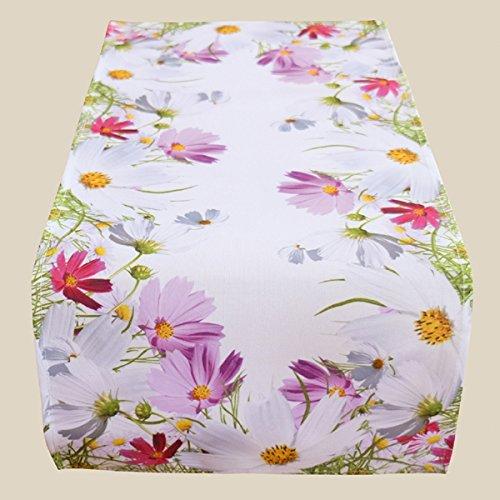 Fashion&Joy Tischläufer bunt bedruckt mit Blumenwiese 40x90 cm weiß mit Digitaldruck Blumen - Sommer Chic Tischwäsche Typ407 (Blumen Tischläufer)