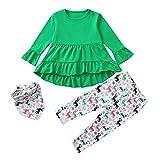 Babykleidung,Sannysis 3Pcs Säugling Kinder Langarm Weihnachten Cartoon Elch Print Kleid + Pants + DREI Stück Schal Dreiteilige Set