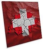 Flagge Schweiz Karte auf Leinwand, quadratisch Wand Kunstdruck Bild, 90cm wide x 90cm high
